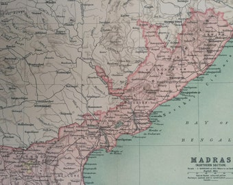 1908 Madras (Northern Section) Original Antique Map - Available Matted and Framed - Cartography - India