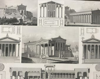 1849 Greco-Roman Architecture Large Original Antique Engraving - Mounted and Matted - Roman Architecture - Victorian Decor