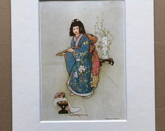 1979 Japanese Fairytale Illustration Original Vintage Print - The Flute - Japan - Mounted and Matted - Available Framed