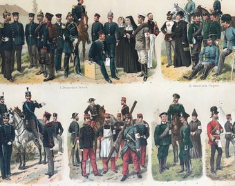 1897 Paramedical Corps Large Original Antique Lithograph - Available Mounted and Matted - Military Decor - Uniform - European Empires