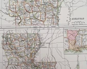 1898 Arkansas and Louisiana Large Original Antique A & C Black Map - United States - Victorian Wall Decor - Wedding Gift Idea