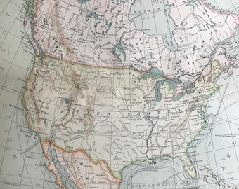 1903 North America Original Large Antique Map showing different Explorer's Routes - Exploration - Voyages - History - Cartography