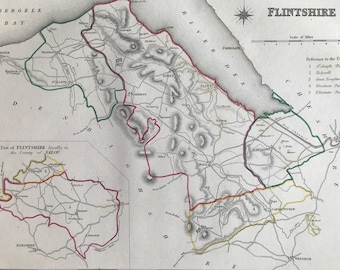 1845 Flintshire Original Antique Hand-Coloured Engraved Map - Available Framed - Cartography - Wall Decor - Wales