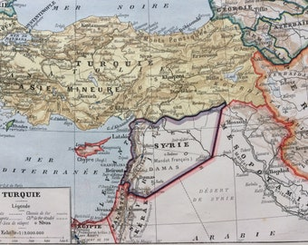 1923 Turkey Original Antique Map - Mounted and Matted - Decorative Art - Wall Decor - Middle East - Syria - Azerbaijan - Mesopotamia