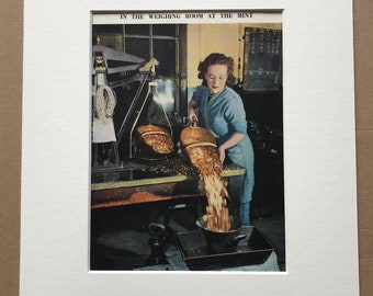 1940s Weighing room at the Mint Original Vintage Print - Mounted and Matted - Royal Mint - Coins - Money - Available Framed