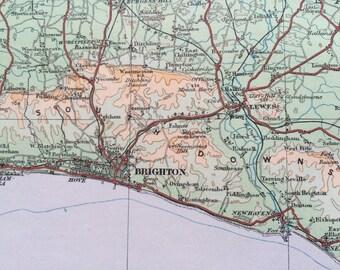 1922 original antique ordnance survey map of Southeast England - Sussex, Kent - South Coast, wall decor, home decor