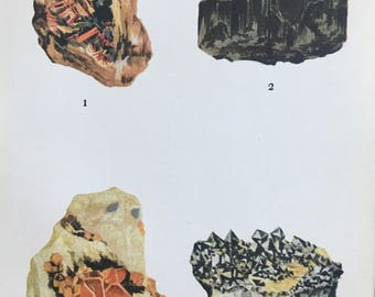 1916 Minerals Original Antique Lithograph - Mounted and Matted - 8 x 10 inches - Crocoite, Wolframite, Wulfenite, Scheelite - Mineralogy
