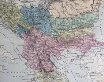 1880 BALKAN PENINSULA original antique map, cartography, geography, wall decor, home decor - Serbia Bosnia Slovenia Greece Macedonia