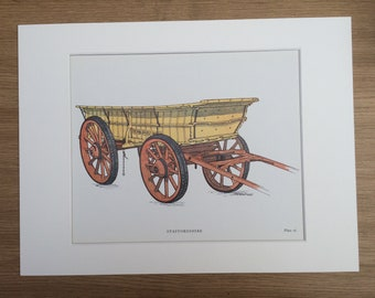1978 Staffordshire Farm Waggon Large Original Vintage Print - Mounted and Matted - Agriculture - Gift for Farmer - Vintage Wall Decor