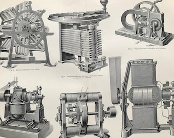 1897 Electric Machines Large Original Antique Lithograph - Available Mounted and Matted - Victorian Technology - Vintage Wall Decor
