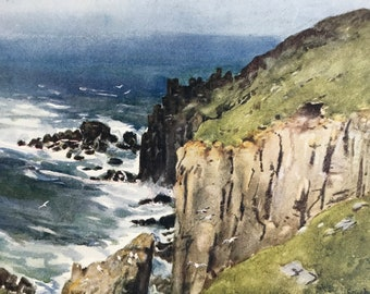 1925 The Land's End Original Antique Print - Cornwall - England - Mounted and Matted - Available Framed