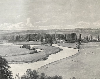 1883 Great Marlow, from Quarry Woods Original Antique Print - Buckinghamshire - Mounted and Matted - Available Framed