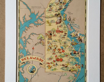 1935 Delaware Original Vintage Cartoon Map - Ruth Taylor - Available Mounted and Matted - Whimsical Map - United States