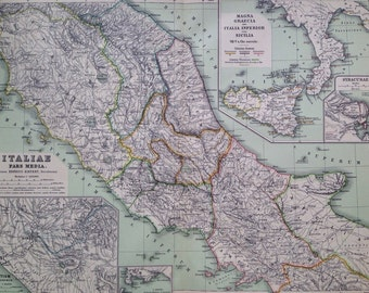 1892 Italiae Pars Media Original Antique Ancient History Large Map - Latin Map - Italy Map -  Geography - Cartography - Historical Map