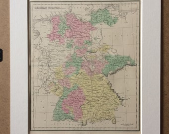 1858 German States Original Antique Map - Available Mounted and Matted - 12 x 16 Inches - Gift Idea - Vintage Map - Wall Decor