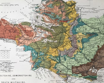 1913 Dorsetshire, Somersetshire and South Wiltshire Original Antique Geological Map - Available Matted and Framed - Somerset - Dorset