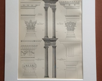 1875 Roman Column Architecture Original Antique Matted Engraving - Temple of Architecture - Rome - Matted & Available Framed