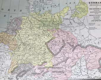 1901 Germany, Switzerland and the Netherlands during the Reformation and the Thirty Years War A.D. 1517-1648 Original Antique Map