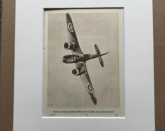 1940 Bristol Blenheim Bomber Original Vintage Print - Mounted and Matted - Aircraft - Airplane - R.A.F. - Available Framed
