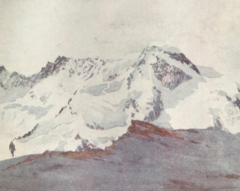 1917 The Breithorn from Schwarz See Original Antique Print - Mounted and Matted - Available Framed - Switzerland