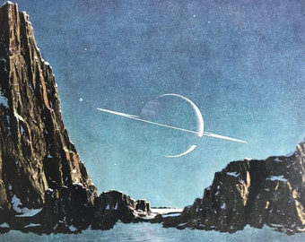 1940s On one of Saturn's Moons Original Vintage Print - Mounted and Matted - Planet - Astronomy Illustration - Available Framed