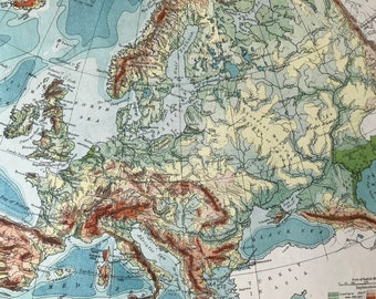 1906 Europe (Physical) Original Antique Map - Mounted and Matted - Available Framed - Geology - Geography