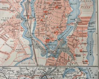 1896 Lubeck Small Original Antique Map - Germany - City Plan - Cartography - Vintage Map - Wall Decor