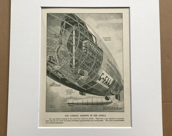 1927 R100 and R101 Airships Original Vintage Print - Aircraft - Airplane - Mounted and Matted - Available Framed