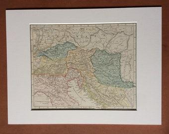 1865 Vindelicia, Noricum, Rhaetia, Pannonia et Illyricum Original Antique Ancient History Map - Italy, Croatia, Slovenia, Balkans, Serbia