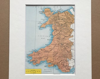 1940s Wales Original Vintage Map - Mounted and Matted - Cartography - Welsh History- Available Framed