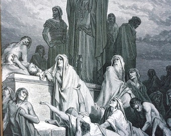 1870 Plague of Jerusalem Original Antique Gustave Dore Engraving - Mounted and Matted - Dore Bible - Biblical Wall Decor - Available Framed