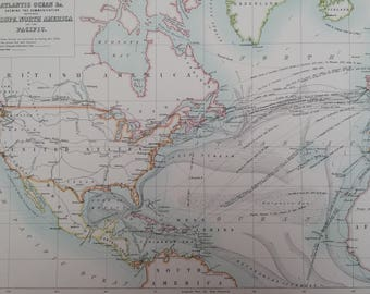 1898 Atlantic Ocean showing communications between Europe, North America and the Pacific Large Original Antique A & C Black Map - Wall Decor