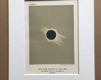 1913 Total Solar Eclipse Original Antique Print - Astronomy - Celestial Art - Lunar Crater - Mounted and Matted - Available Framed
