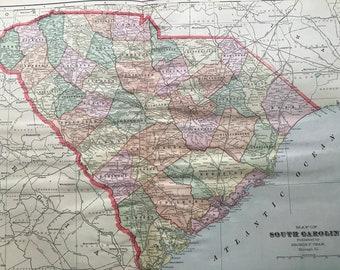 1907 South Carolina Large Original Antique Map - Vintage Decor, United States, SC State Map