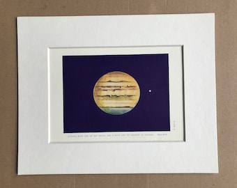 1913 Jupiter, with one of his Moons and a Moon of its shadow in Transit Original Antique Print - Mounted and Matted - Available Framed