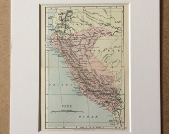 1895 Peru Original Antique Map - Mounted and Matted - 8 x 10 inches - Framed Map - Framed Vintage Art