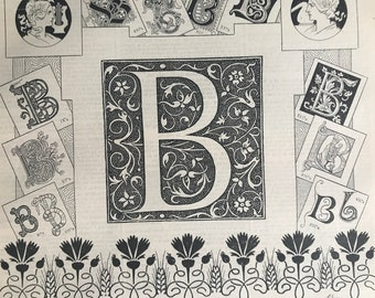 1897 Letter B - Decorative Alphabet Letter Original Antique Print - Birthday Gift - Mounted and Matted - Available Framed