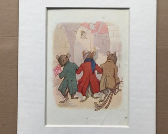 1917 Three Blind Mice Original Vintage Margaret W. Tarrant Illustration - Matted and Available Framed - Nursery Rhyme