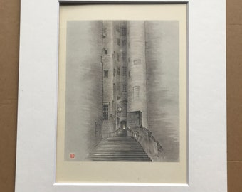 1948 Edinburgh - Advocates' Close in Twilight Original Vintage Chiang Yee Illustration - Scotland - Mounted and matted - Available Framed