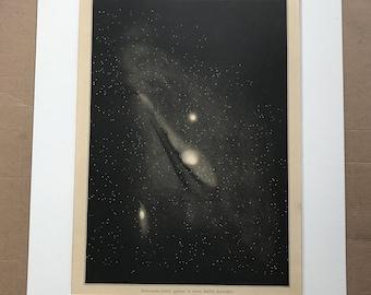 1882 Original Antique Lithograph - Andromeda Nebula - Zodiac - Celestial Art - Astronomy - Astrology - Victorian Wall Decor