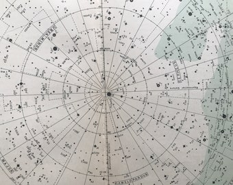 1950 Original Vintage Star Map - astrology, astronomy, stars, zodiac, constellations, star-gazing, planets - Vintage Wall Decor