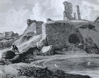 1817 Dunbar Castle - Haddingtonshire Original Antique Engraving - Scotland - Borders - Vintage Wall Decor - Available Framed