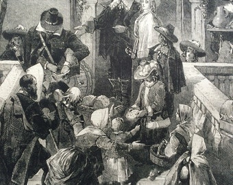 1855 Old English Christmas Almsgiving Original Antique Engraving from the illustrated times, Victorian Art, Victorian Wall Decor