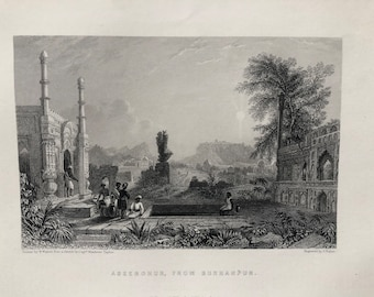 1871 Aseerghur, from Burhanpur Original Antique Steel Engraving - India - Mounted and Matted - Available Framed