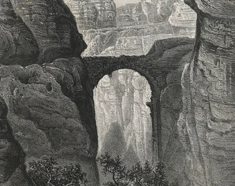 1880 Entrance to the Valley of Petra Original Antique Steel Engraving - Mounted and Matted - Available Framed - Jordan - Victorian Decor