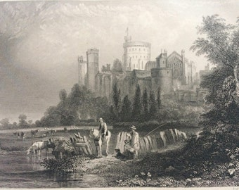 1870 Windsor Castle (from the West) Original Antique Engraving - Mounted and Matted - Royalty - British Royal Family - Royal Residence