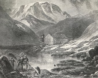 1876 Hospice of the Great St Bernard Original Antique Wood Engraving - Mounted and Matted - Available Framed - Switzerland - Pennine Alps