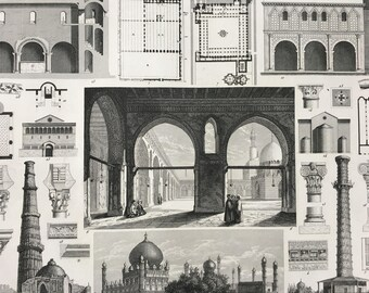 1849 Islamic Architecture Large Original Antique Print - Mounted and Matted - Available Framed - Islam - Mosque - Palace - Persian
