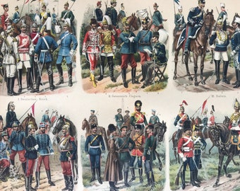 1897 Cavalry Large Original Antique Lithograph - Available Mounted and Matted - Military Decor - European Empires - Uniform