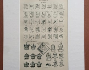 1905 Heraldry (Charges, Crowns, Coronets, Mitres, Helmets) Original Antique Print, 10 x 12 inches - Mounted and Matted - Available Framed
